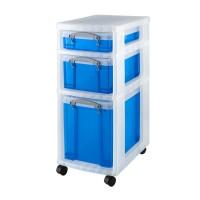 Rollwagen mit 3 transparent-blauen Boxen Really Useful Boxes