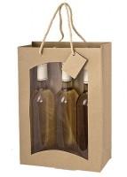 Weintragetasche mdf, aus Kraftpapier - 3er