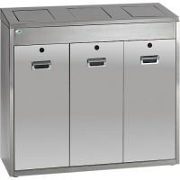Wertstoff-Sammelsystem VAR, Edelstahl, 3 x 48 l